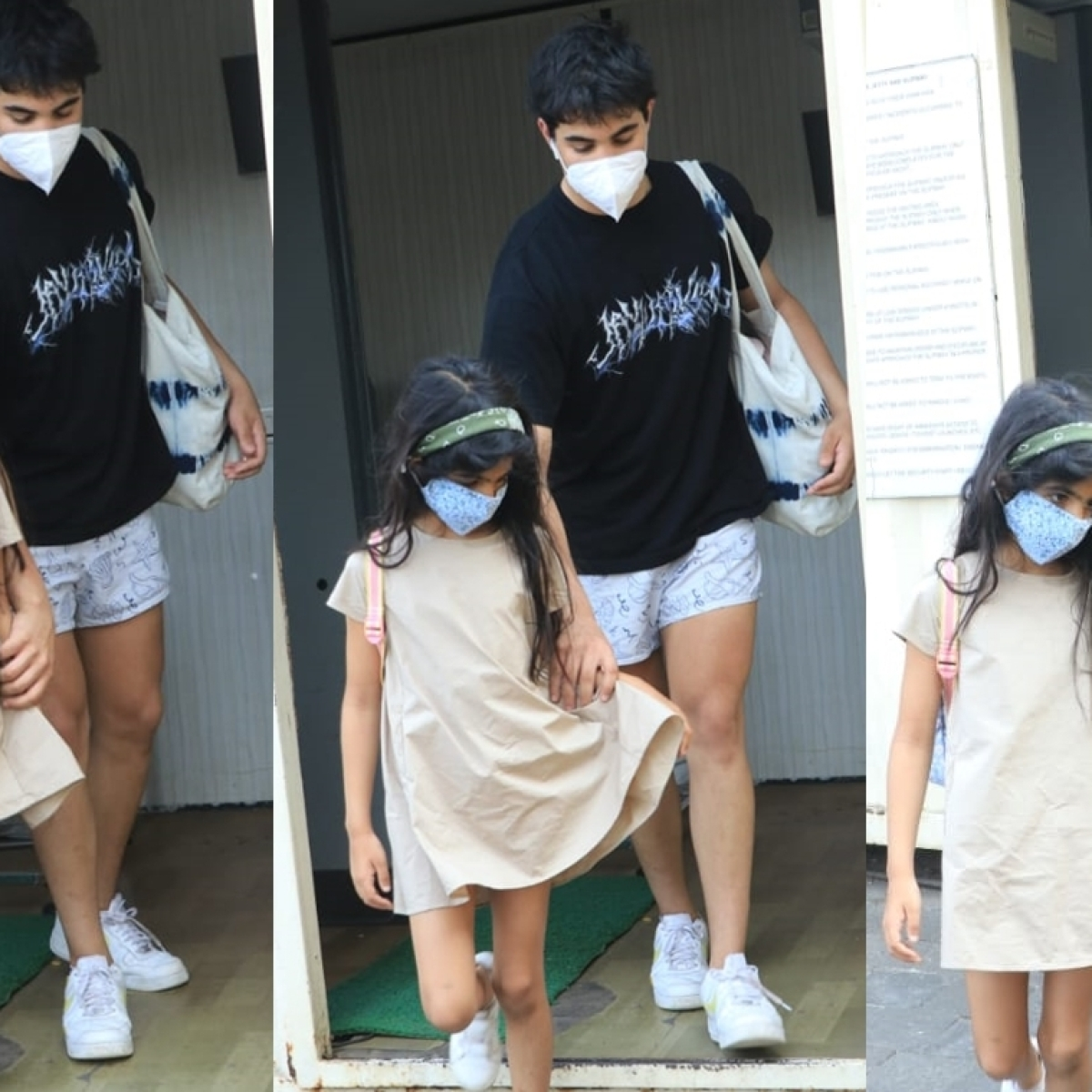 In Pics: Akshay Kumar's son Aarav is a protective brother holding Nitara's hand after surrounded by paparazzi