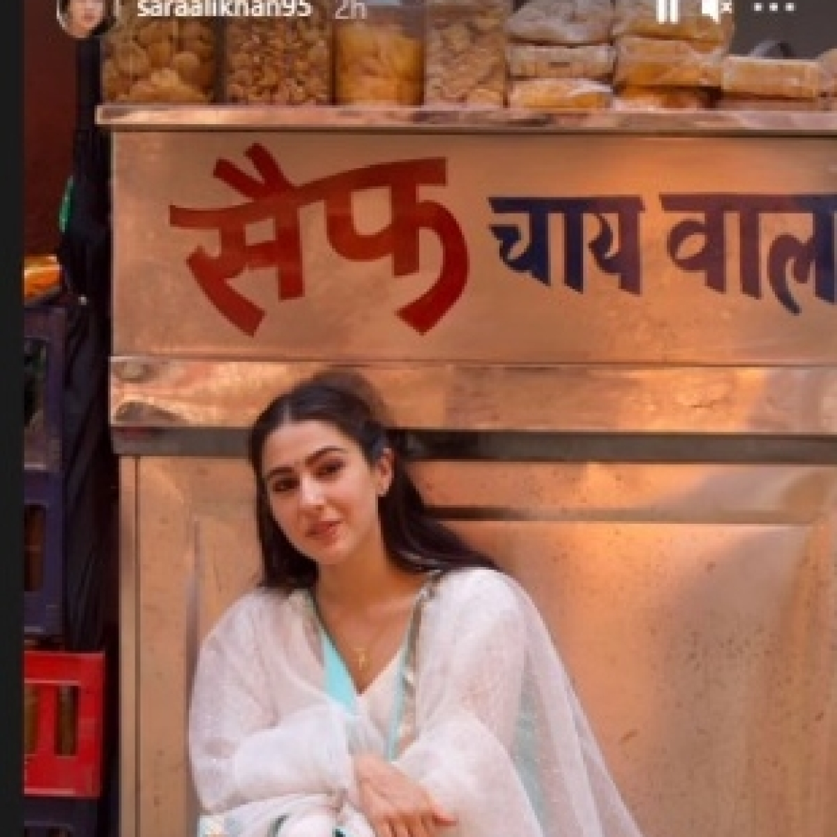 Sara Ali Khan poses outside 'Saif Chai Wala,' jokes 'I love my dad'
