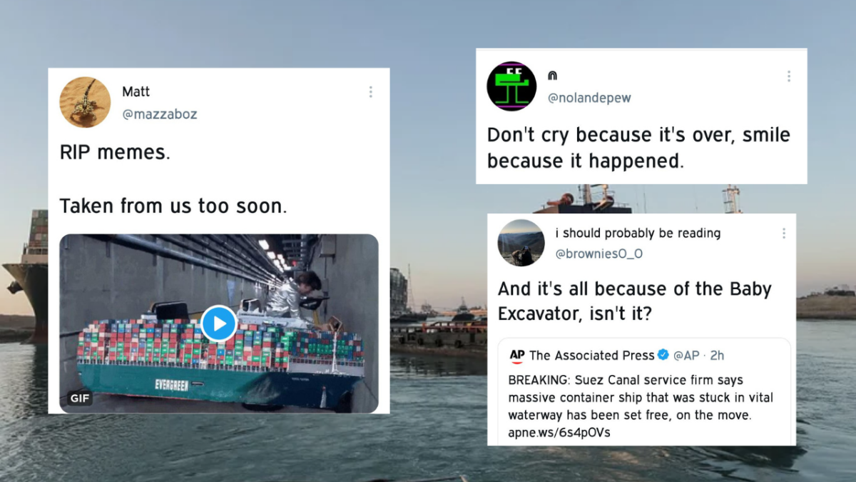 Along with ship, Twitterati bid farewell to Suez Canal memes after 'Ever Given' goes free