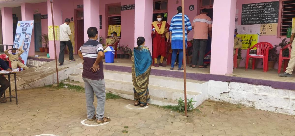 Voting in Damoh on Saturday