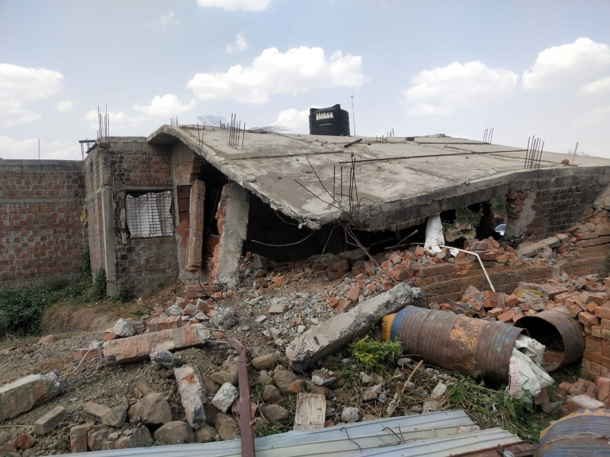 Debris of a house of sarpanch Narendra Kumawat at village Banskhedi