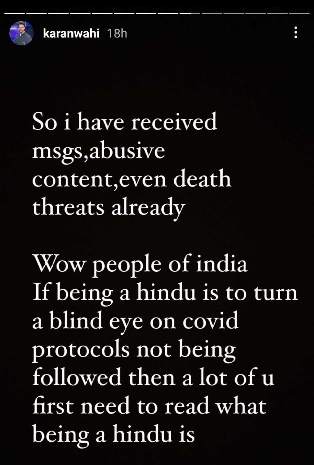 Karan Wahi receives death threats for post on Naga Babas at Kumbh Mela amid COVID-19 crisis