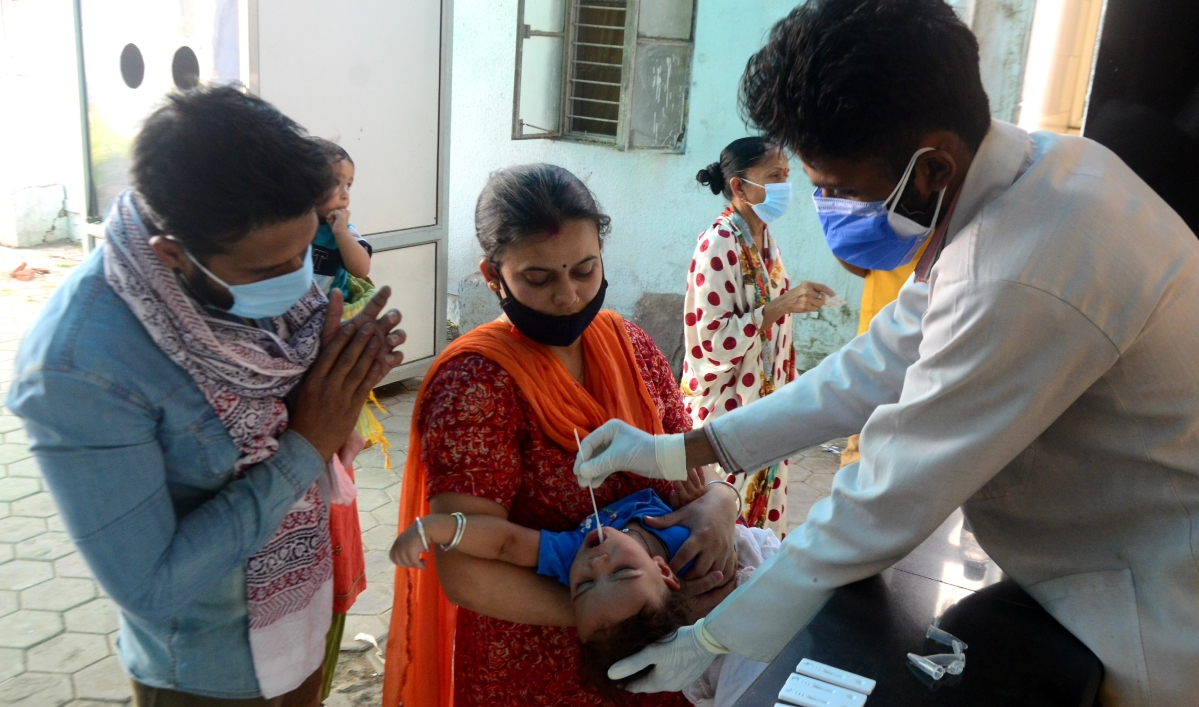 Testing continues in fever clinic in Bhopal on Saturday.