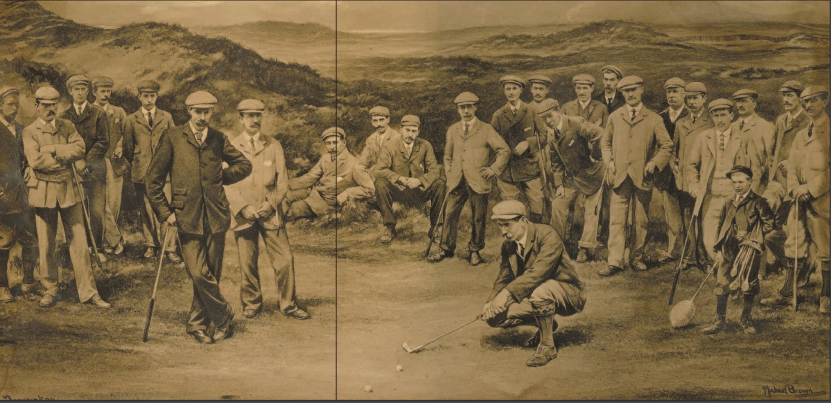 This is first England v. Scotland golf match in 1901. James Sherlock (third from left), later the professional at Stoke Park, captained the England side. Note the lobster pot asa flag, a practice later adopted at Stoke Park