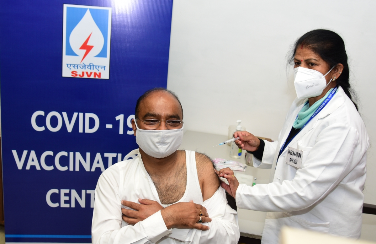 Covid vaccination drive initiated at SJVN Corporate HQ's, Shimla