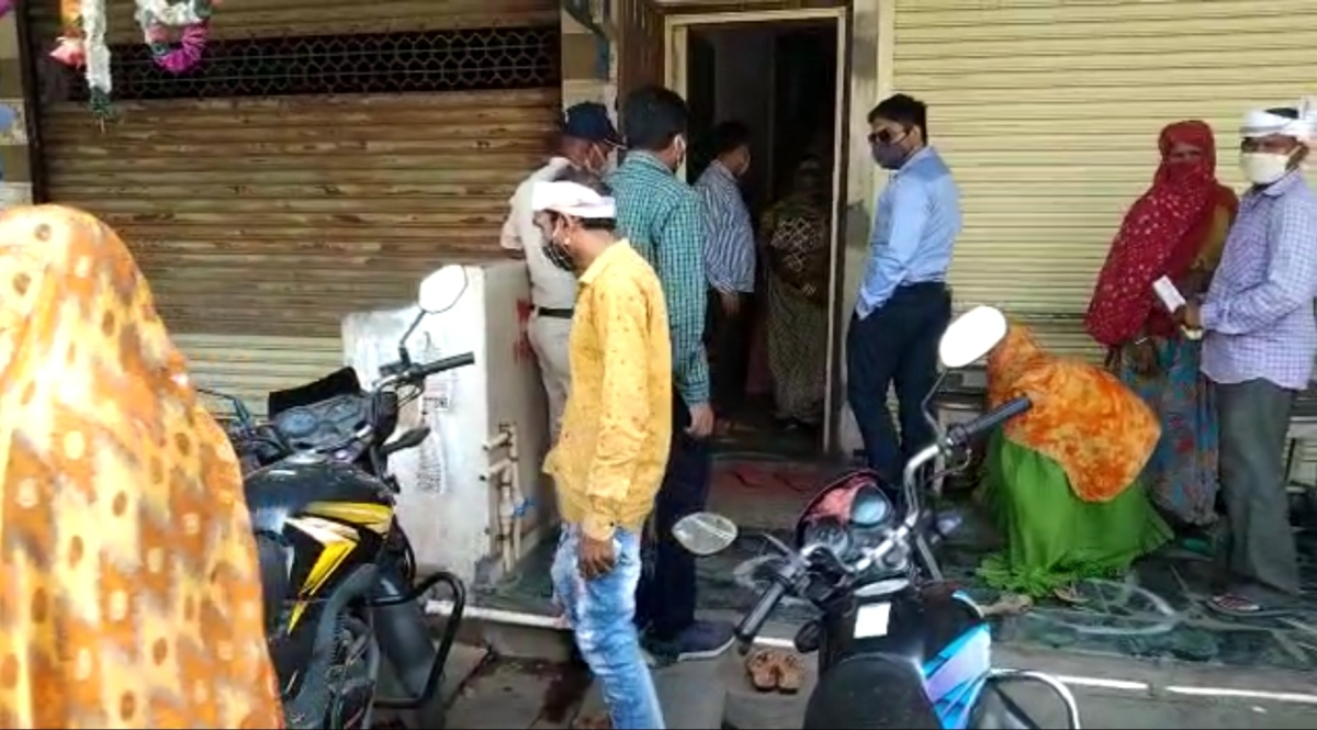 People outside clinic of Aseem Vishwash in  Meghnagar