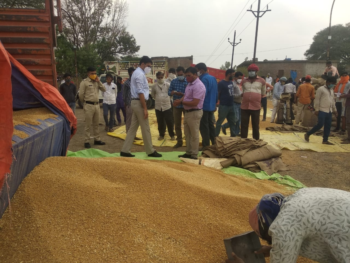 Inspection at wheat procurement centre on Tuesday