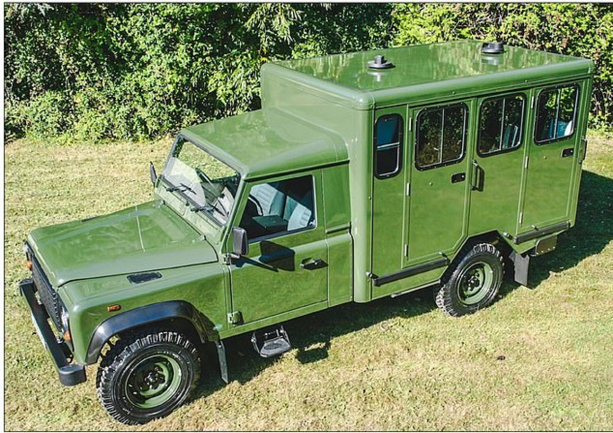 A Land Rover that Prince Philip, the Duke of Edinburgh, helped design over 15 years ago. The vehicle is believed to be a modified Defender 130 Gun Bus.