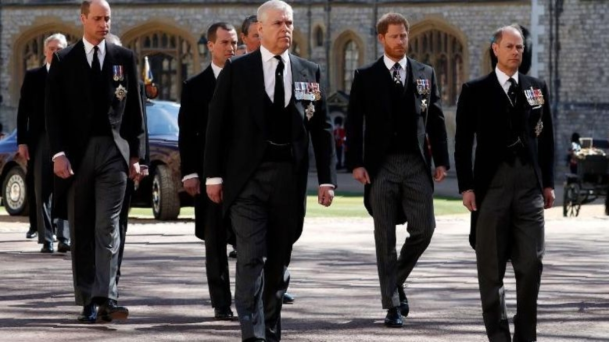(From left) Prince Charles; Duke of Cambridge, Prince Andrew; Duke of York, Prince Harry; Duke of Sussex, and Prince Edward; Earl of Wessex