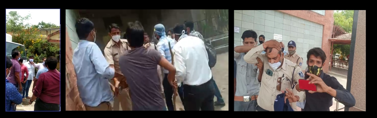 Family members of deceased patient raising ruckus (Left)  Junior doctors arguewith policemen (Centre)  Injured constable (Right)