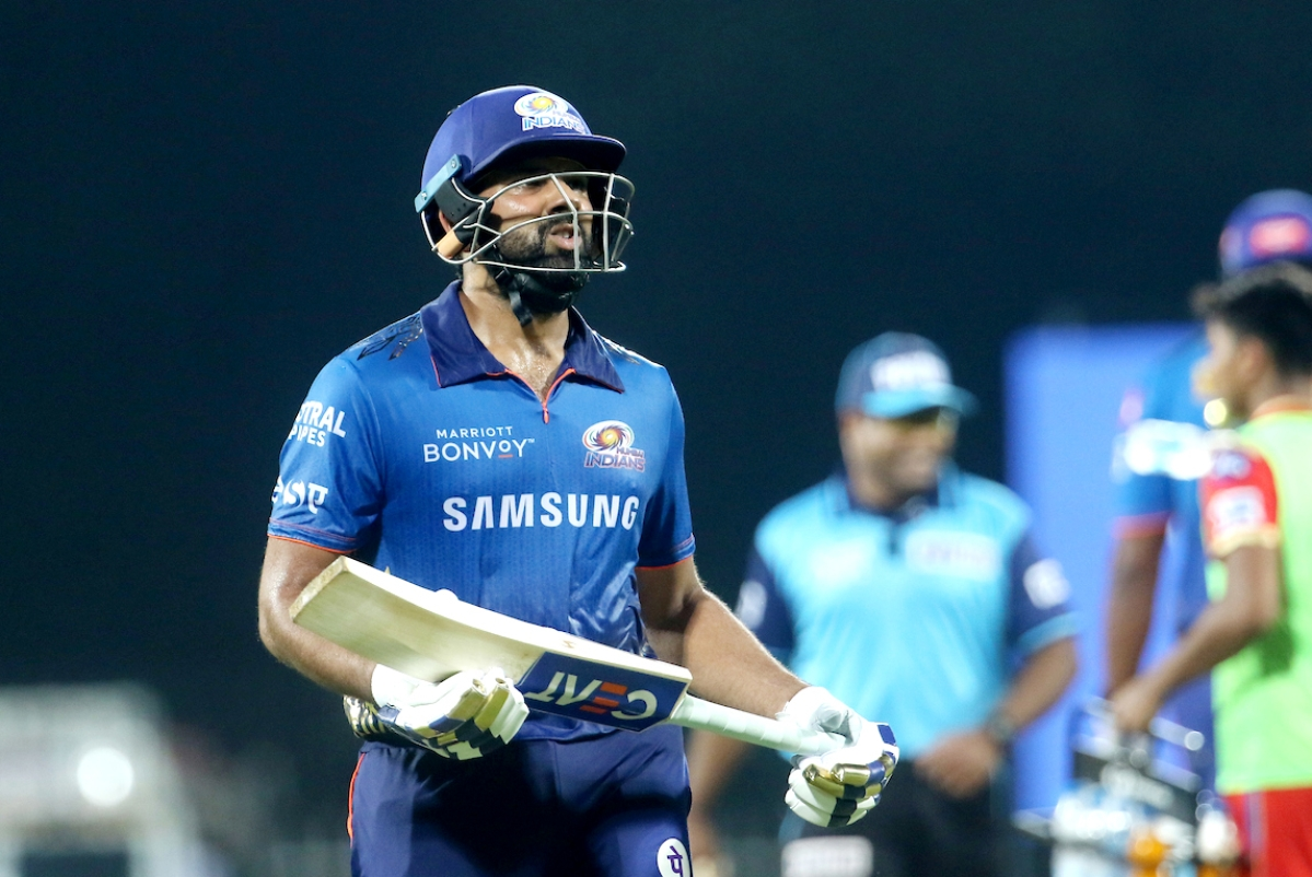 Tamil Nadu, Apr 23 (ANI): Rohit Sharma captain of Mumbai Indians walks back to the pavilion after getting out during the match between the Punjab Kings and the Mumbai Indians at the MA Chidambaram Stadium in Chennai on Friday.