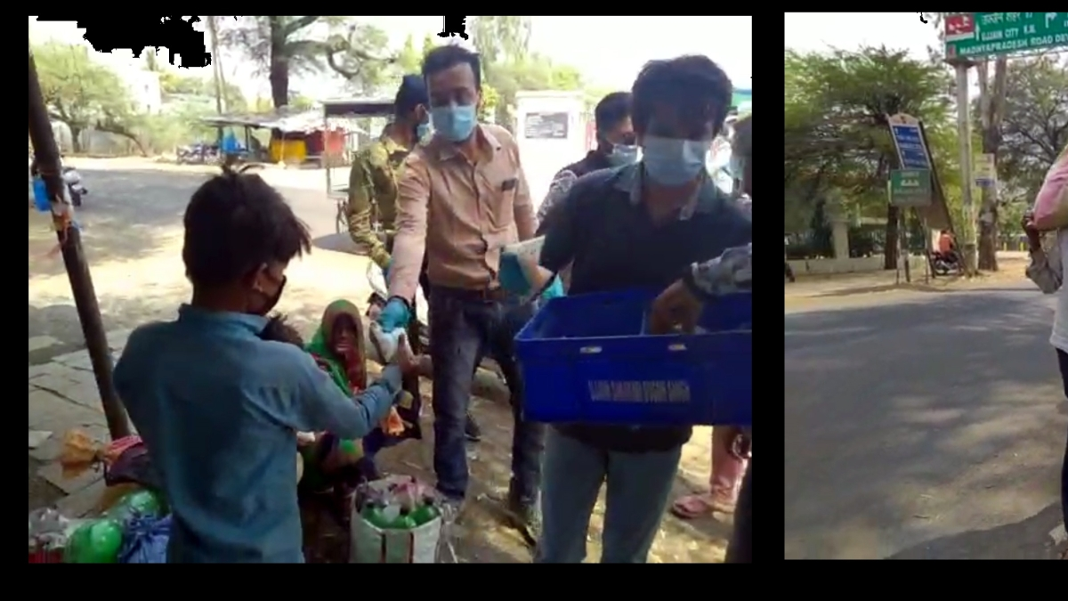 Locals serve butter milk to the migrating labourers (left) Migrants labourers from Rajashtan take Agar Road to reach Jharda in Mahidpur (Right)
