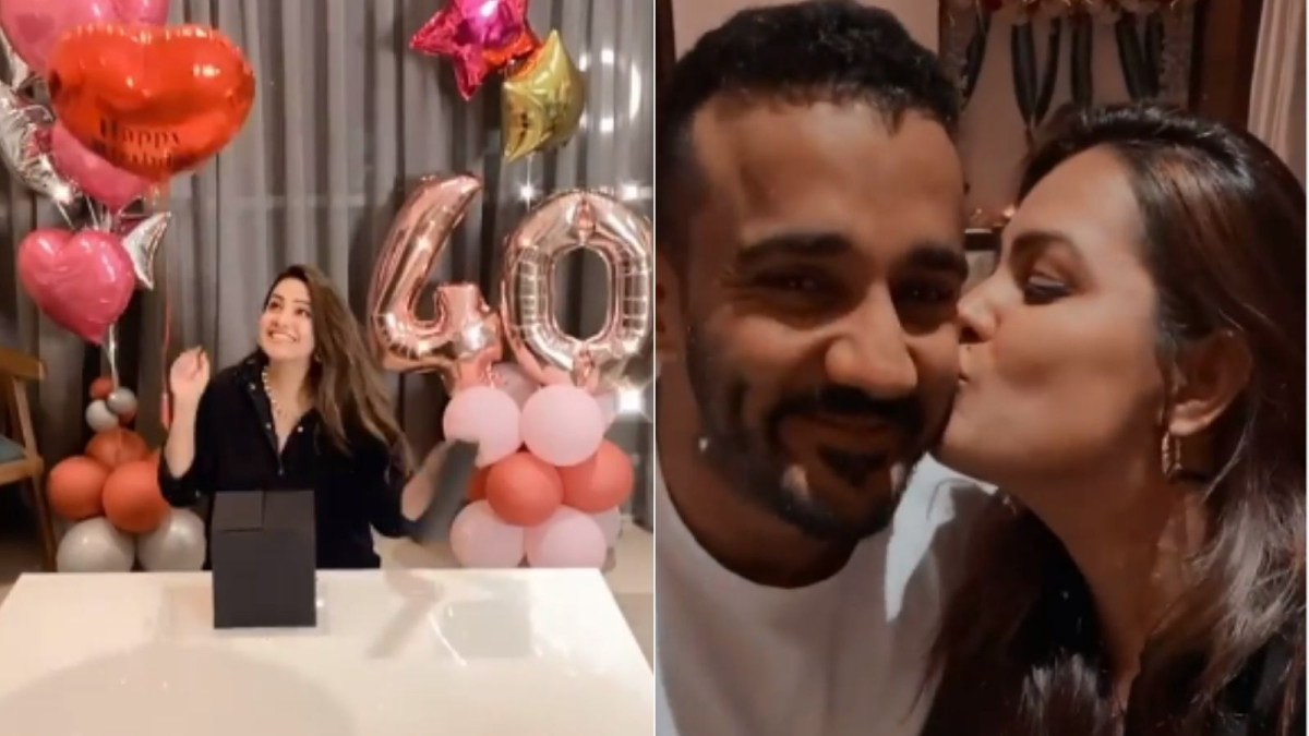 Watch: Anita Hassanandani rings in 40th birthday at home with husband Rohit Reddy