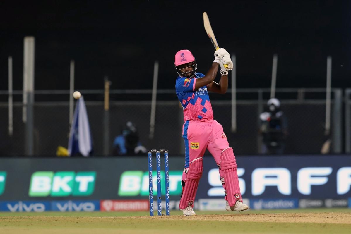 Maharashtra, Apr 12 (ANI): Sanju Samson of Rajasthan Royals plays a shot during the match between Rajasthan Royals and the Punjab Kings at the Wankhede Stadium in Mumbai on Monday.