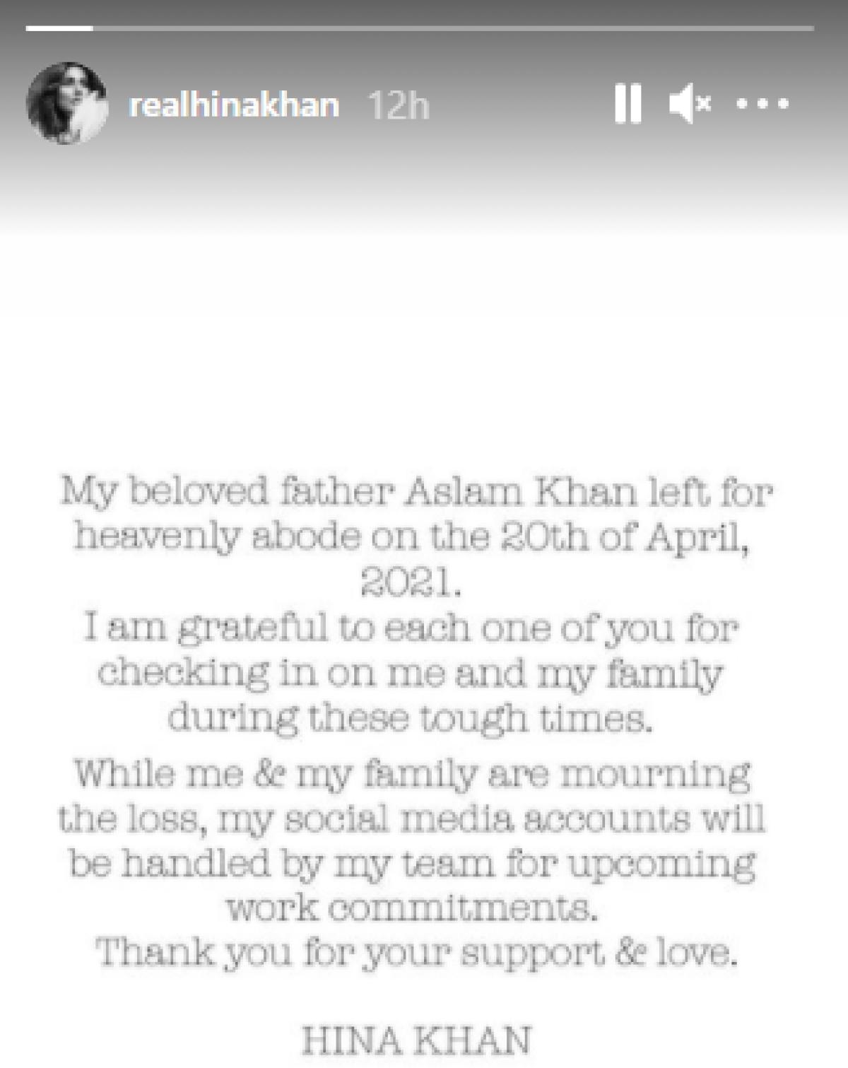 Hina Khan's Instagram story