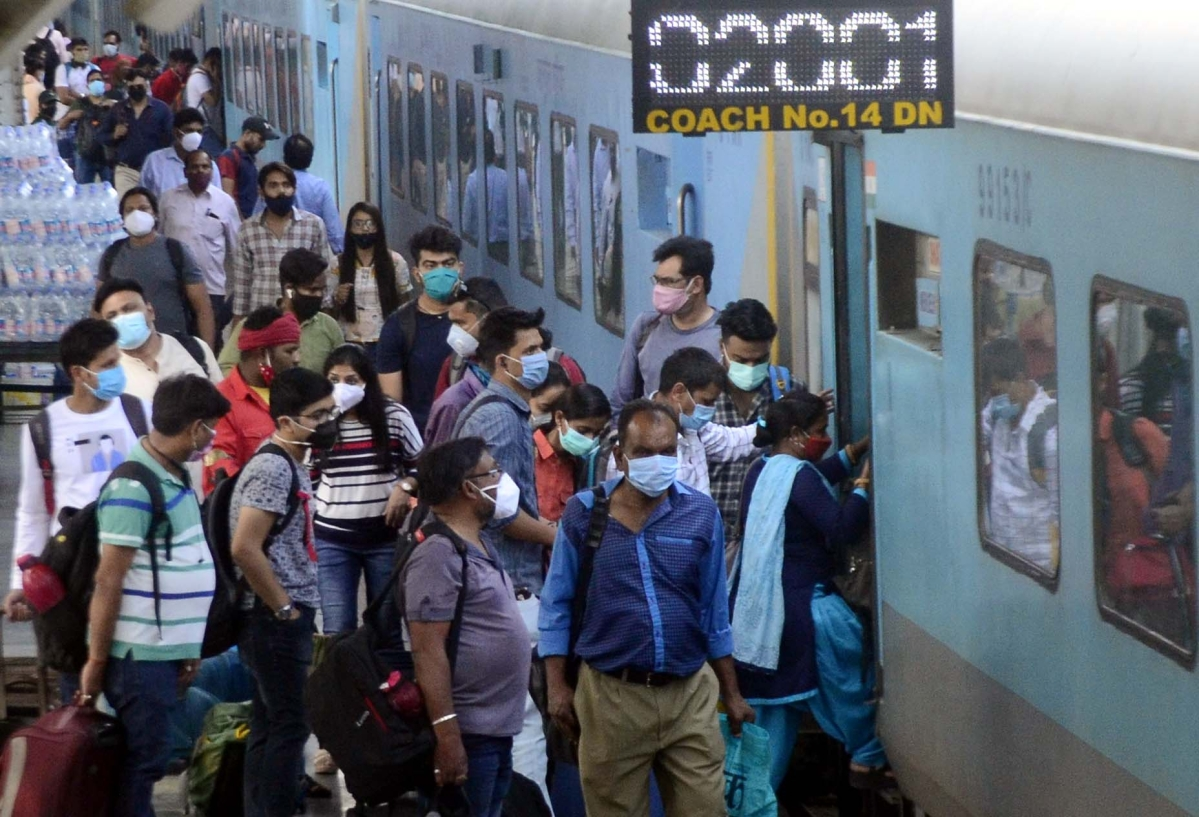 Over crowded special train arrives from Maharashtra at Bhopal Railway station on Sunday.
