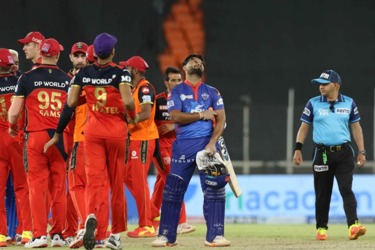 Rishabh Pant captain of Delhi Capitals reacts during match 22 of the Vivo Indian Premier League 2021 between the Delhi Capitals and the Royal Challengers Bangalore held at the Narendra Modi Stadium, Ahmedabad