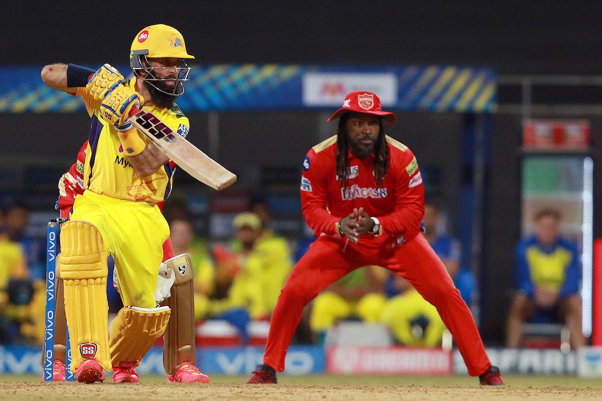 Maharashtra, Apr 16 (ANI): Moeen Ali of Chennai Super Kings plays a shot during the match between the Punjab Kings and the Chennai Super Kings at the Wankhede Stadium in Mumbai on Friday.