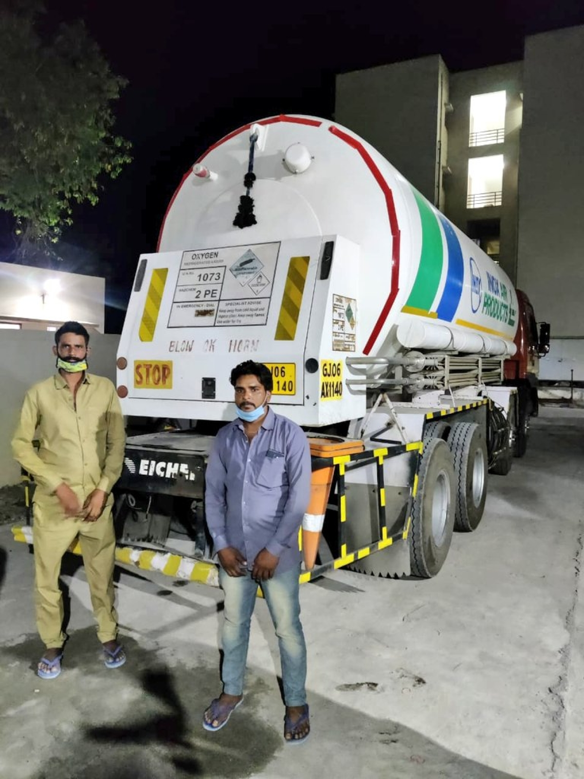 Drivers with oxygen tanker