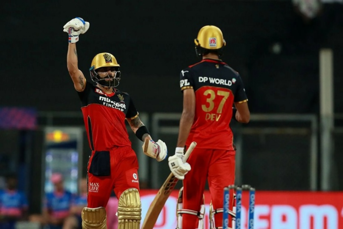 Virat Kohli Captain of Royal Challengers Bangalore celebrates after win the match during match 16 of the Vivo Indian Premier League 2021 between the Royal Challengers Bangalore and the Rajasthan Royals held at the Wankhede Stadium Mumbai on the 22nd April 2021.