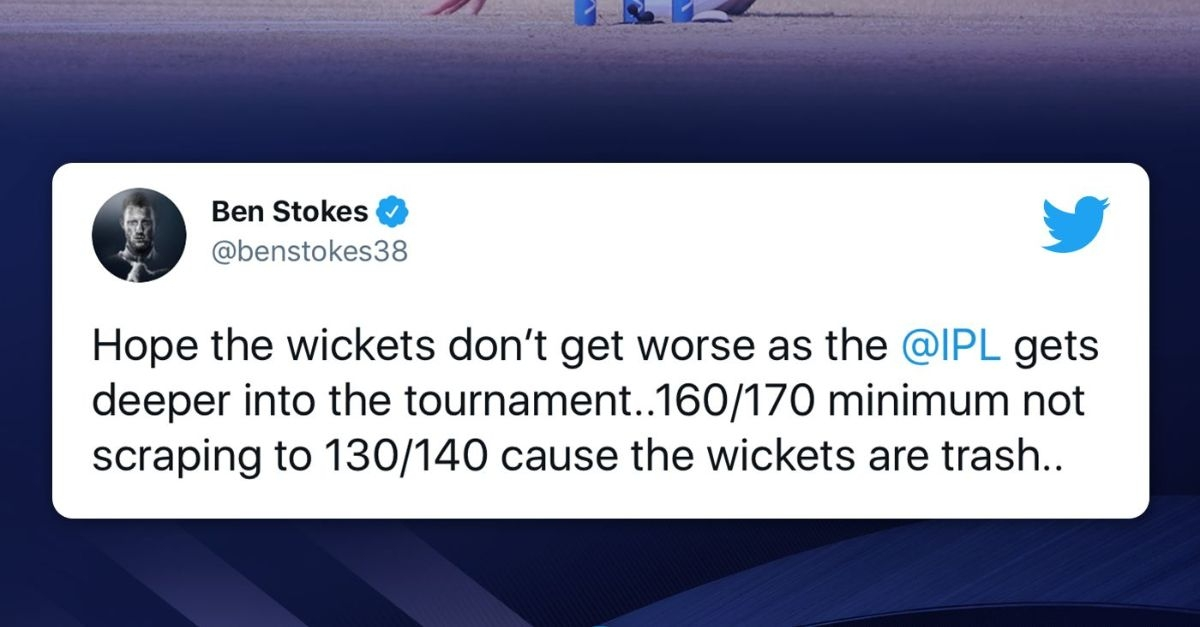 """IPL 2021: Stokes lambasts slow Chepauk track, says """"trash"""" wickets will have teams scraping to low scores"""