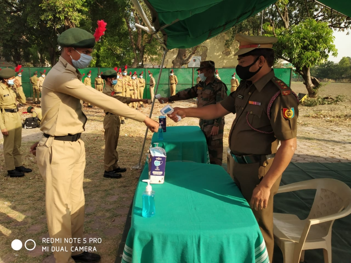 Cadets appearing for NCC exam undergo thermal screening in Indore on Friday
