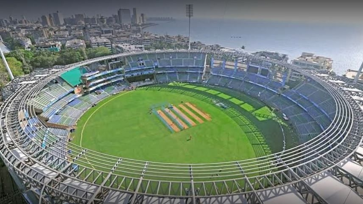 Two men watch IPL match at Wankhede during lockdown, held