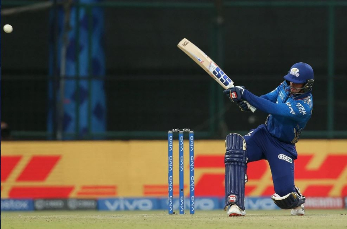 Quinton de Kock of Mumbai Indians during match 24 of the Vivo Indian Premier League between the Mumbai Indians and the Rajasthan Royals held at the Arun Jaitley Stadium, Delhi, India on the 29th April 2021