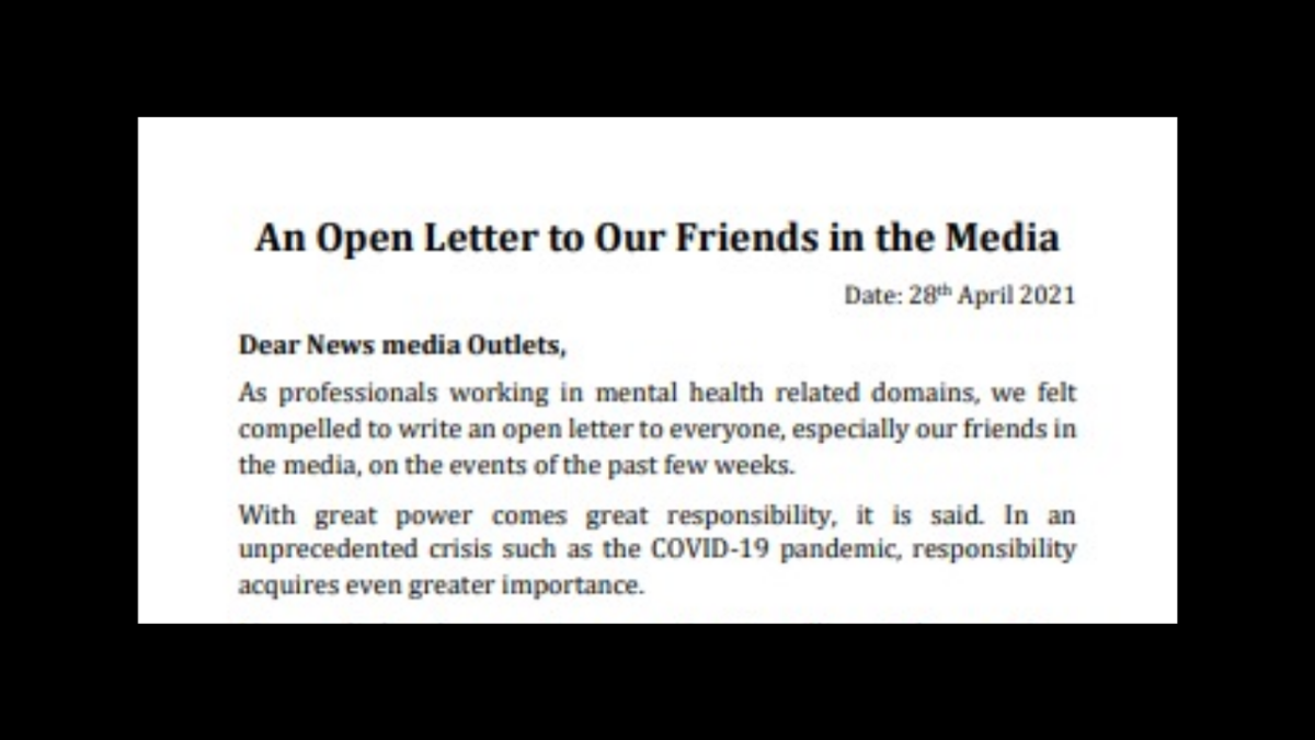 "Mental health professionals ask media to avoid ""disconcerting"" coverage; Twitterati ask not to hide reality"