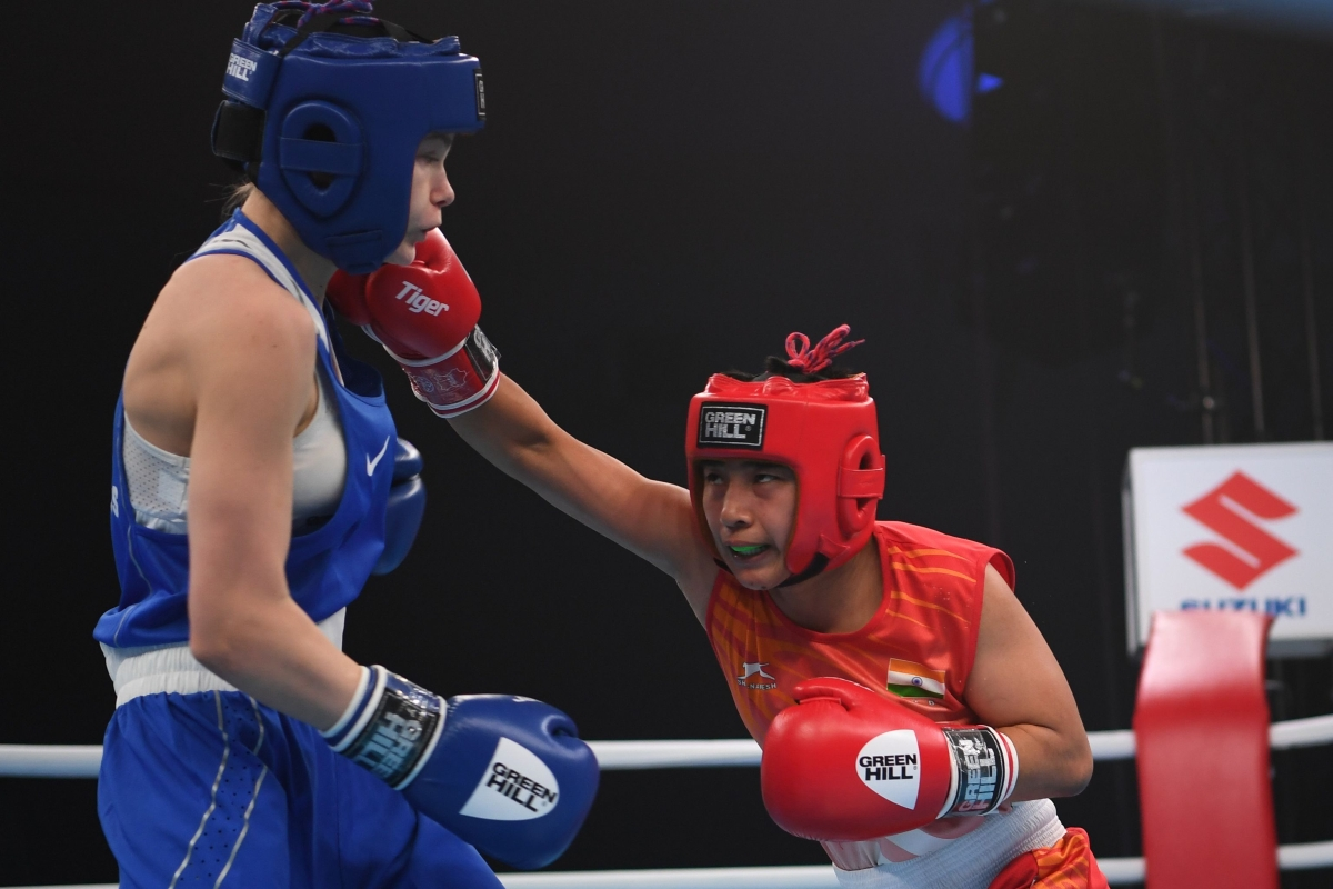 Babyrojisana Chanu (51kg) lands a punch on her opponent on her way to gold medal win in the final of AIBA Youth Men's and Women's World Championships in Kielce, Poland.