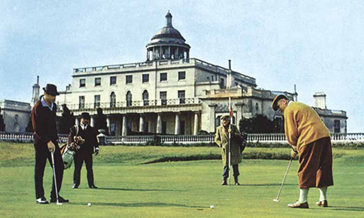 The golfing scenes in Goldfinger, the James Bond film, purportedly at Royal St Mark's (a transparent pseudonym for Royal St George's), were actually filmed at the Stoke Park Club in 1964.