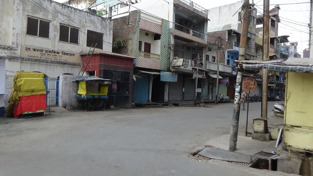 A deserted street in Nagda on Sunday