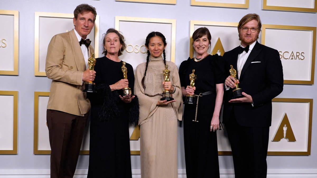 Producers Peter Spears, Frances McDormand, Chloe Zhao, Mollye Asher and Dan Janvey, winners of the award for best picture for Nomadland