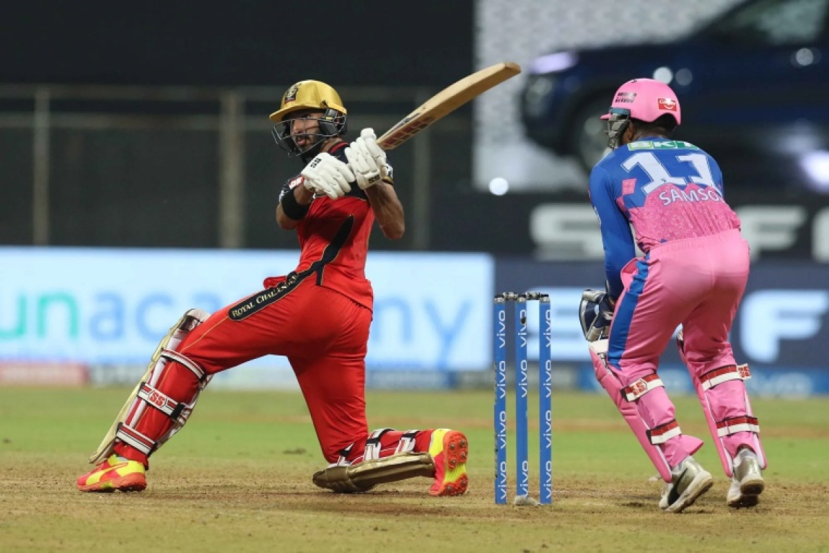 Devdutt Padikkal of Royal Challengers Bangalore bats during match 16 of the Vivo Indian Premier League 2021 between the Royal Challengers Bangalore and the Rajasthan Royals held at the Wankhede Stadium Mumbai on the 22nd April 2021