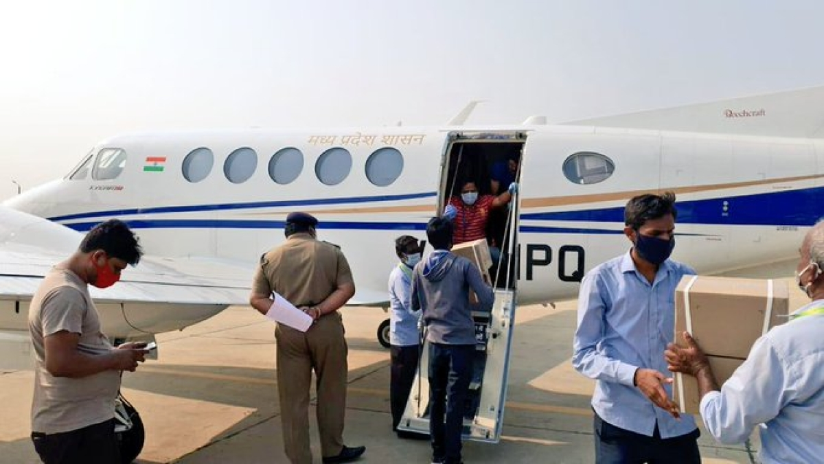 Remdesivir injections were airlifted to different parts of Madhya Pradesh on Tuesday