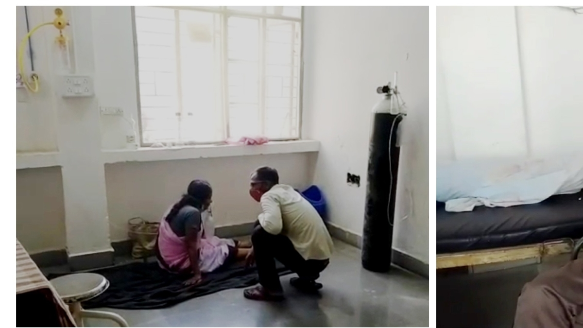 A woman patient avails oxygen supply while lying her on floor (Left)  A man being administered oxygen on a chair (Right)
