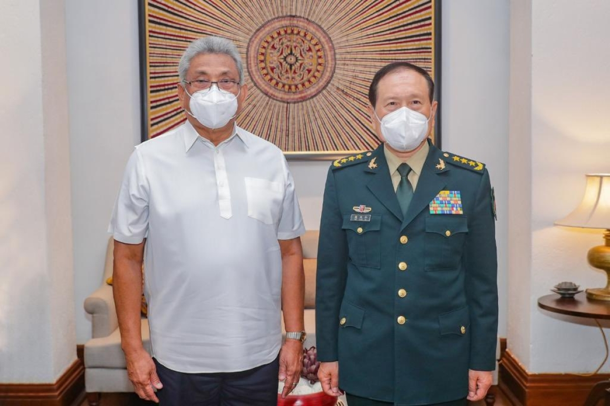 Sri Lankan President Gotabaya Rajapaksa (left) with China's Minister of Defence General Wei Fenghe in Colombo on Wednesday