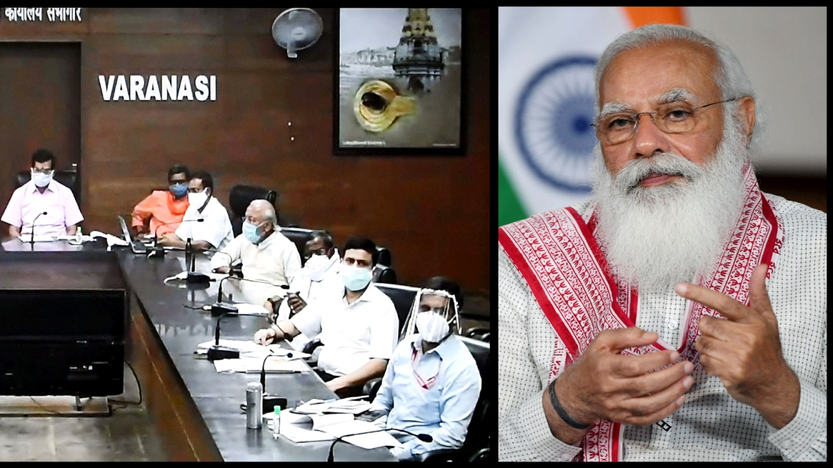 New Delhi. Apr 18 (ANI): Prime Minister Narendra Modi chairing a meeting to review the COVID-19 situation in Varanasi, through a video conference, in New Delhi on Sunday.