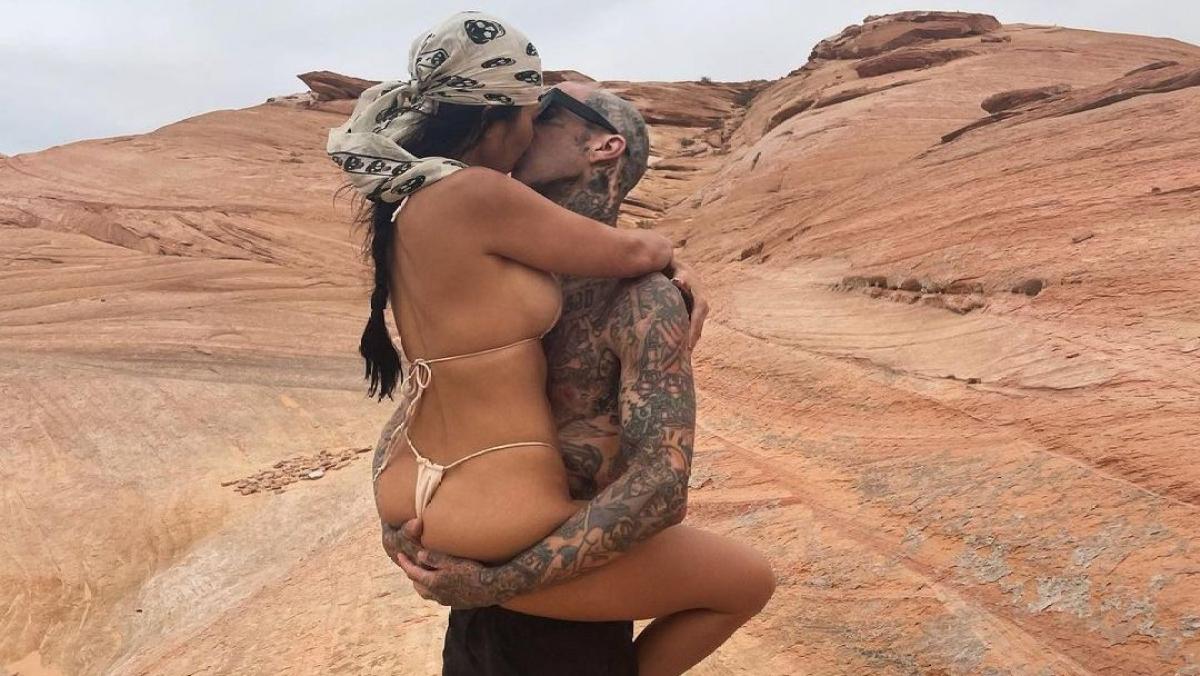 Thong bikini-clad Kourtney Kardashian passionately smooches Travis Barker in latest Instagram post