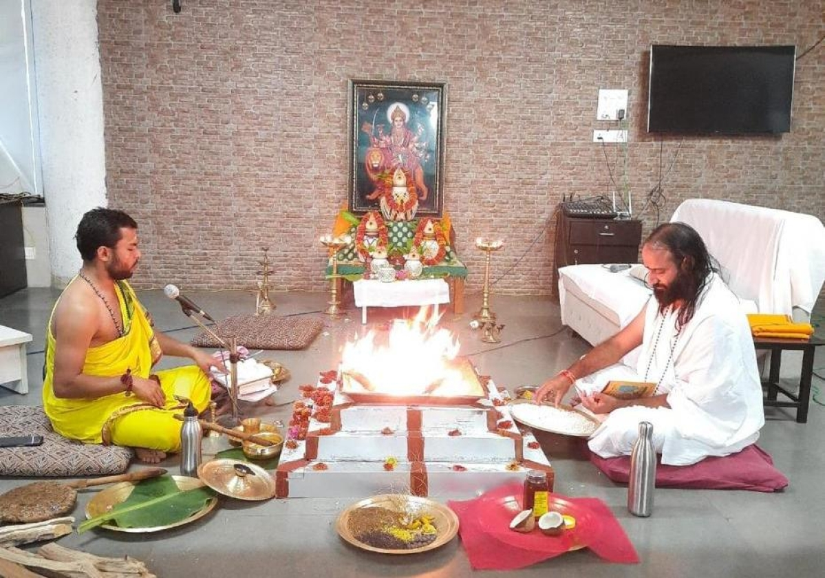 Durga Homa on first day of  three-day fest