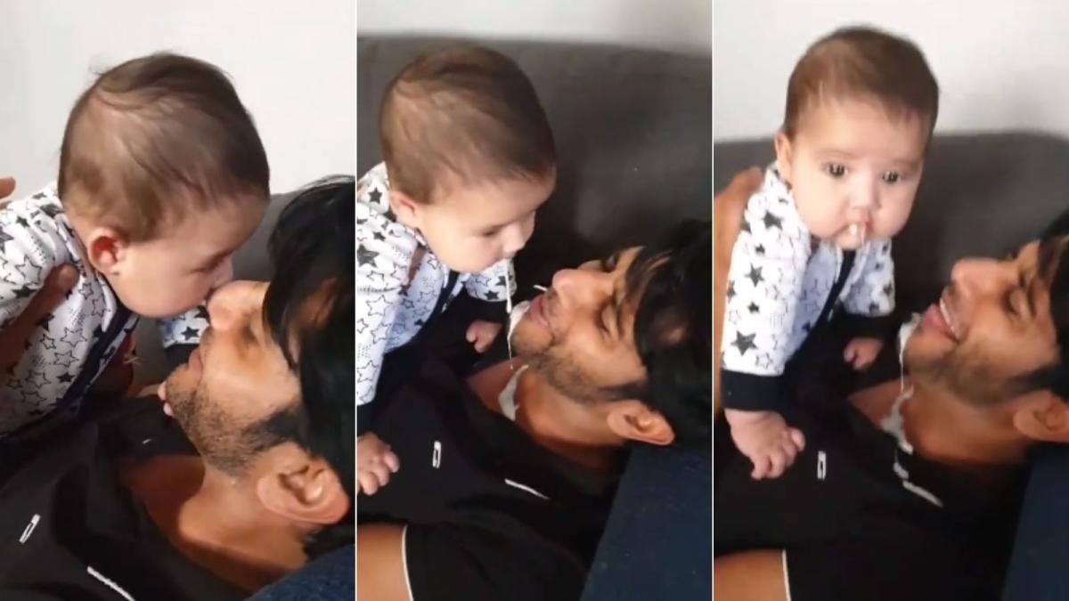 Watch: Karanvir Bohra's newborn daughter pukes on his face in a hilarious video