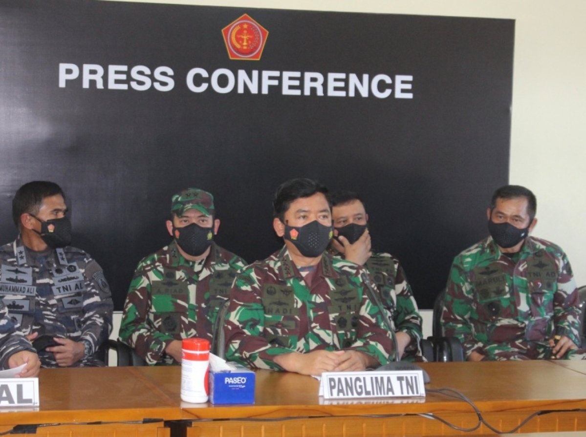 Indonesian military officers speak to the media on Saturday
