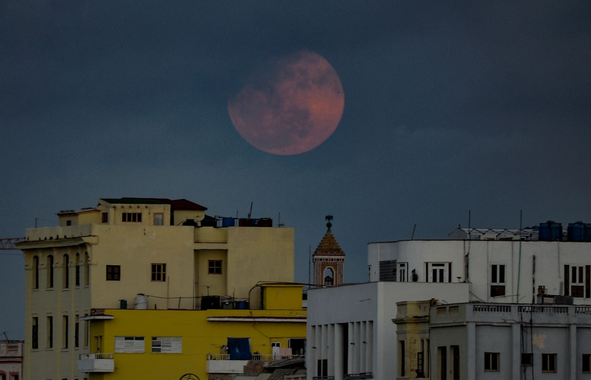A full Super Pink Moon rises above Havana on April 26, 2021.
