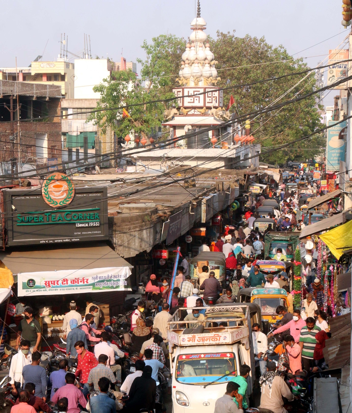Rush of people in a market in Old Bhopal after the two-day lockdown ended on Monday.