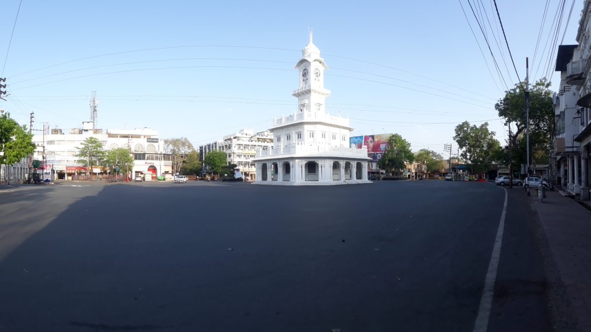 Tower Chowk which is considered to be the heart of the city wore a deserted look in Ujjain on Saturday.
