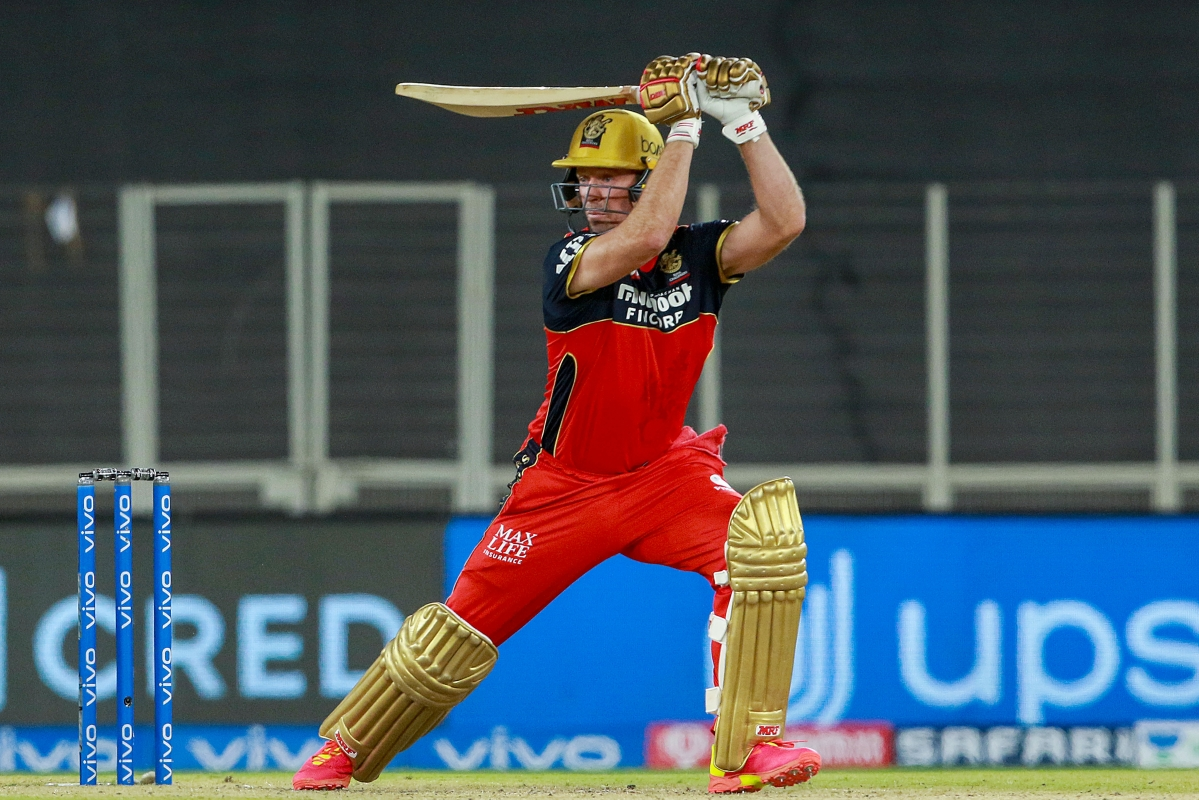 Ahmedabad: AB de Villiers of Royal Challengers Bangalore plays a shot during the Vivo Indian Premier League 2021 between the Delhi Capitals and the Royal Challengers Bangalore held at the Narendra Modi Stadium, Ahmedabad, Tuesday, April 27, 2021.