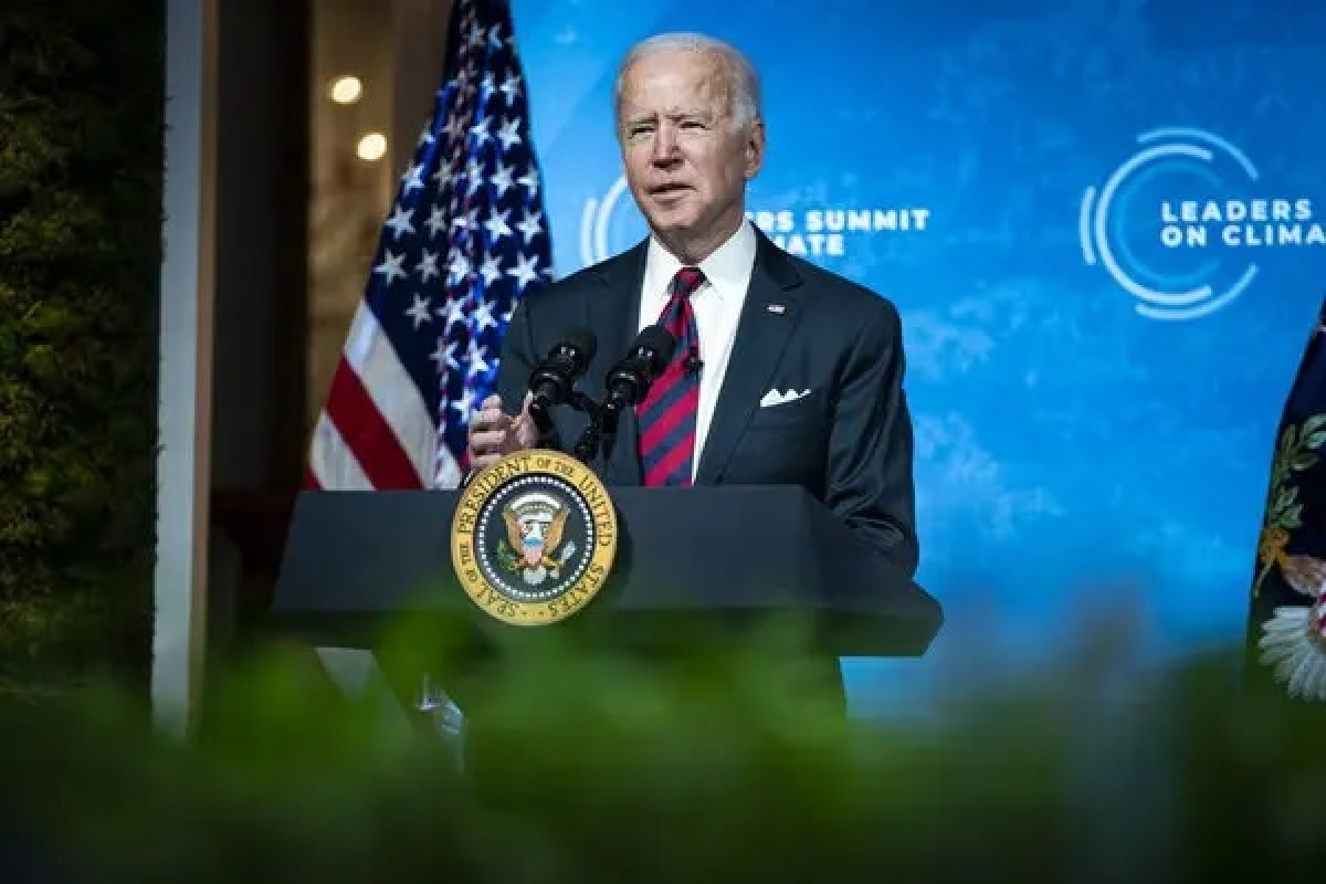 President Biden speaking on Thursday during a virtual summit on climate change from the East Room of the White House