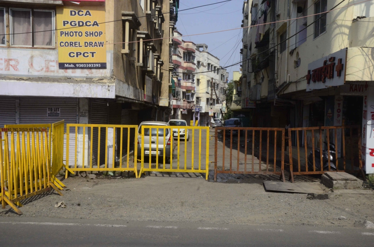 Road barricaded in containment areas in the state capital, Bhopal, on Tuesday.