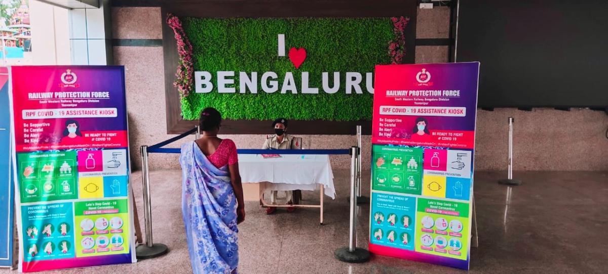 SWR installs Covid-19 assistance kiosk at KSR Bengaluru, Yesvantpur & Bengaluru cantonment stations