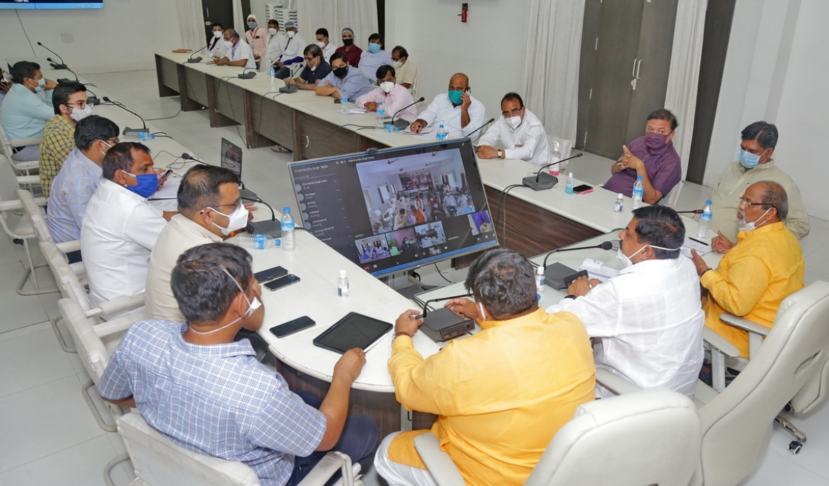 An 'extended' meeting of the District Crisis Management Committee underway at Brahaspati Bhavan, in Ujjain on Wednesday